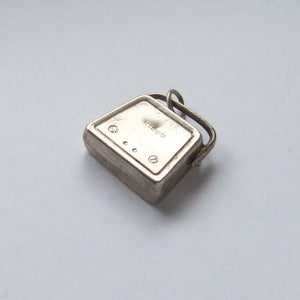 Vintage Radio Charm Sterling Silver Reverse