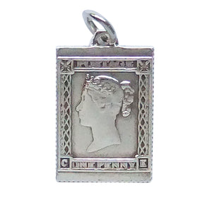 English Silver Postage Stamp Charm Vintage