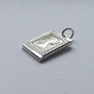 Silver Postage Stamp Charm Vintage Victorian One Penny