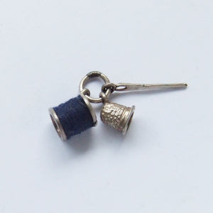 Vintage Sewing Charm Blue Cotton Needle Reel Thimble
