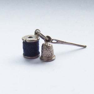 Silver Sewing Charm Needle Spool Thimble Vintage