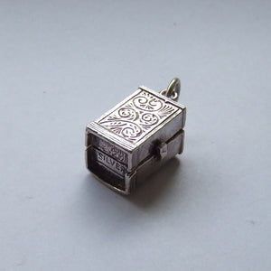 Vintage Silver Television Cabinet Charm Opening to Camera