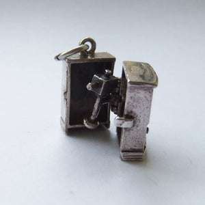 Vintage Silver TV Charm Opens to a Television Camera
