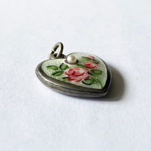 Walter Lampl June Heart Flower Rose with Pearl Pendant Vintage Side