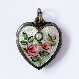 Walter Lampl June Heart Flower Rose with Pearl Pendant Vintage