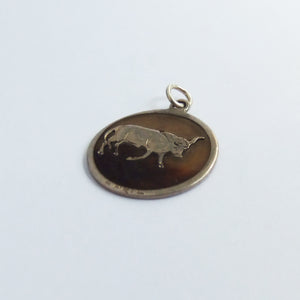 Antique April Taurus Bull Charm Silver Horn