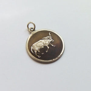 Antique April Taurus Bull Charm Silver Edwardian
