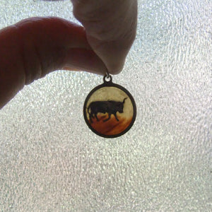 Antique April Taurus Bull Charm Silver Semi Translucent