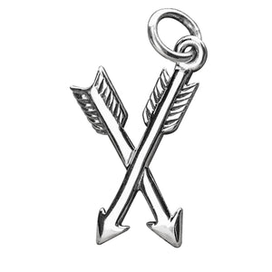 Sterling silver crossed arrows charm