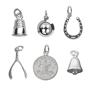 Traditional Christmas plum pudding charms sterling silver