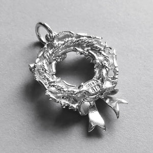 Christmas Wreath Charm Sterling Silver or Gold Reverse
