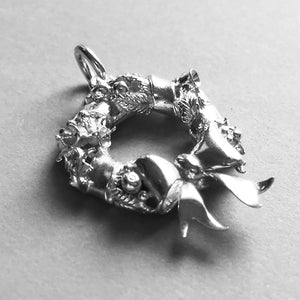 Christmas Wreath Charm Sterling Silver or Gold Side