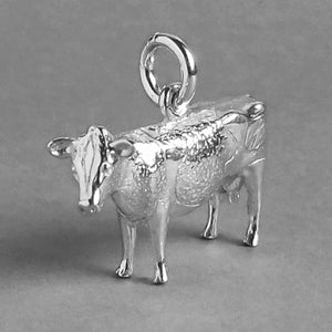 Cow Charm Sterling Silver Side
