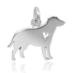 Dog Silhouette with Heart Charm in Sterling Silver