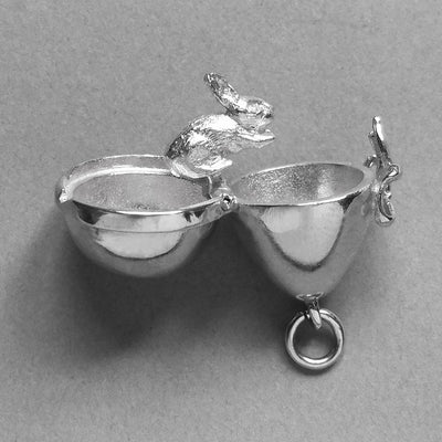 Easter Egg and Rabbit Charm Sterling Silver or Gold