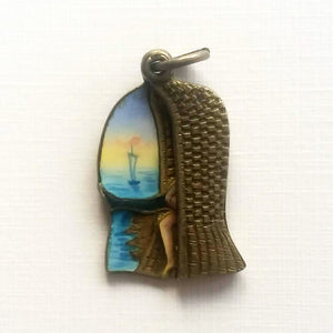 Edwardian enamel French risque beach bather charm