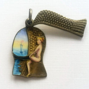 Antique enamel slider charm lady bathing