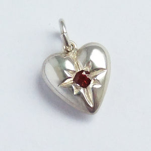 Heart Charm Sterling Silver and Garnet Pendant