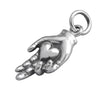Sterling silver heart in hand charm