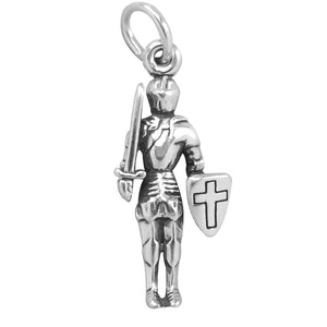 Sterling Silver Knight in Suit of Armour with Sword and Shield Charm