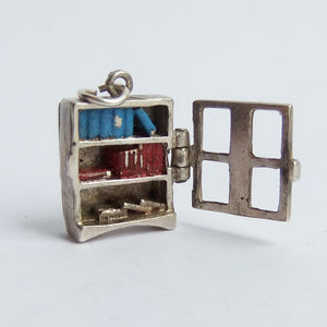 Sterling silver enamel Nuvo bookcase charm