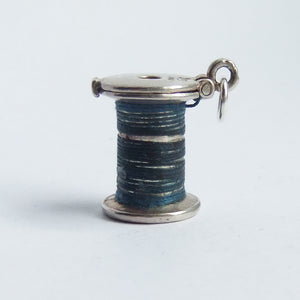 Vintage Nuvo Cotton Spool Charm Sterling Silver