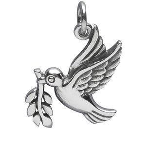Sterling Silver Peace Dove with Olive Branch Charm