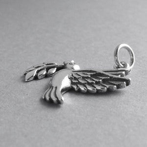 Peace Dove with Olive Branch Charm .925 Sterling Silver