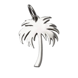Palm Tree Charm Sterling Silver Tropical Pendant