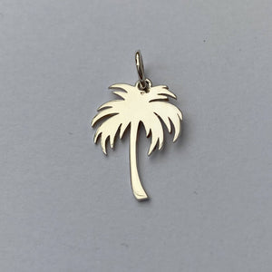 Palm Tree Charm Sterling Silver Tropical Pendant back