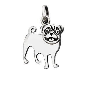 Sterling silver charm pug dog pendant