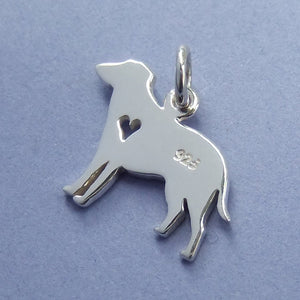 Dog Silhouette with Cutout Heart Charm