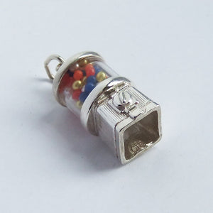 Sterling Silver Gumball Dispenser Machine Charm