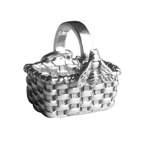 Sterling Silver Basket with Honey Bee Charm