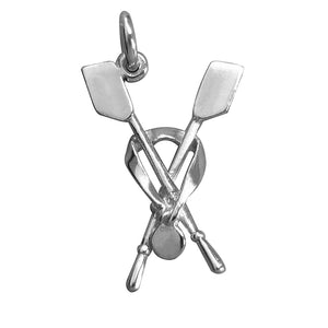 Sterling silver rowing oars and medal charm