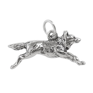 Sterling silver running wolf charm or pendant