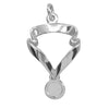 Sport Award Ribbon and Medal Charm Sterling Silver or Gold Pendant