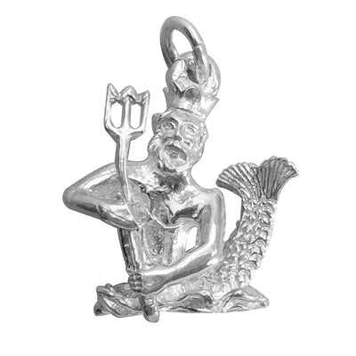 Neptune God of the sea charm in sterling silver