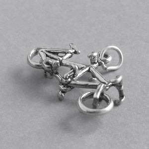 Tandem Bicycle Charm Sterling Silver Bike Pendant
