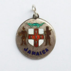 Thomas L Mott Jamaica Coat of Arms Charm Sterling Silver Enamel TLM