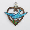 Vintage enamel bluebird forget me not flower and heart charm