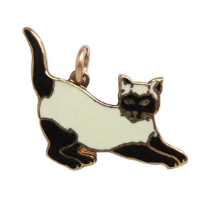Vintage Black and White Cat Charm Fish Fine Enamels