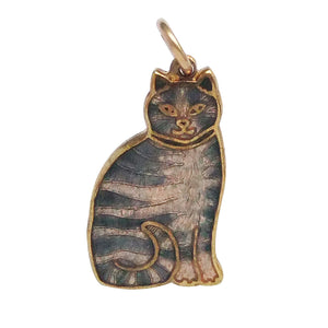 Vintage Grey Tabby Cat Charm Fish Fine Enamels
