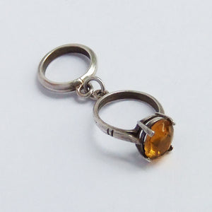 Vintage Engagement and Wedding Ring Charm with Yellow Crystal