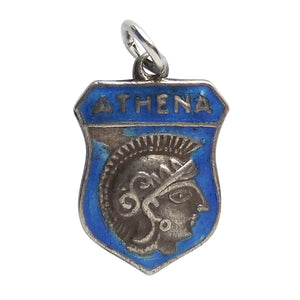 Vintage Silver and Enamel Greek Athena Shield Charm