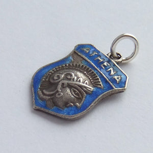 Vintage Silver and Enamel Greece Athena Shield Charm
