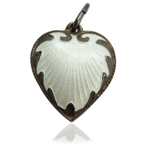Vintage Norwegian Enamel Puffy Heart Charm