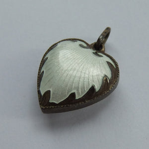 Vintage Norway White Enamel Puffy Heart Charm