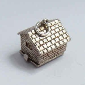 Vintage Nuvo Opening Farm Cow Shed Sterling Silver Charm