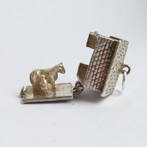 Vintage Nuvo Opening Cow Shed Sterling Silver Charm